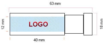 Clé USB publicitaire Made to USB zone d'impression du logo